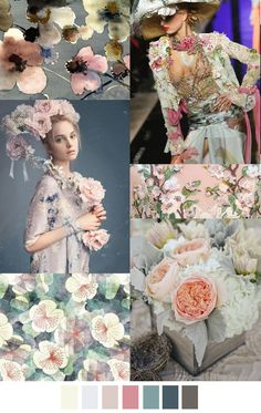 Floral love - textile design and surface pattern inspiration Colour Schemes, Color Trends, Color Patterns, Color Combinations, Print Patterns, Fashion Colours, Colorful Fashion, Print Texture, Fashion Forecasting