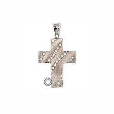 Ένας πρωτότυπος σταυρός γυναικείος ή βαπτιστικός από λευκόχρυσο Κ14 με ριγέ ανάγλυφα που παρεμβάλλονται από σειρές ζιργκόν  #ζιργκον #γυναικειος #βαφτιση #λευκοχρυσο #σταυρος Cufflinks, Accessories, Wedding Cufflinks, Jewelry Accessories