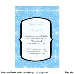 Blue Snowflakes Sweet 16 Birthday Invitation