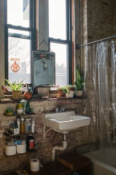 "10 ""Exposed Brick Tiles"" Bathroom Design Ideas - Home: Living color Home Design, Design Ideas, Brick Tiles Bathroom, Dream Apartment, New York Studio Apartment, Loft Apartment Decorating, Warehouse Apartment, New York Apartments, Brooklyn Apartment"