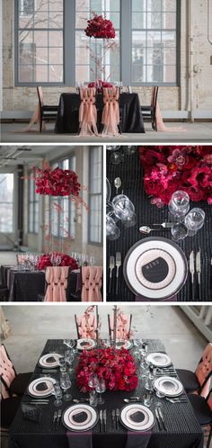 Black and Red Modern Wedding Tablesetting - Valentine's Day Tablescape Inspiration | Nüage Designs
