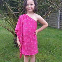 Robe asymétrique jersey avec petit noeud pour fille