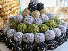 date balls rolled in coconut, nuts, sesame seeds at  Damas Sweets in KL: Superior Syrian Sweeties | You Had Your lunch?