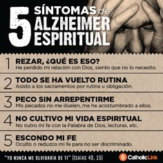 Catholic-Link's Library - Infographic: 5 symptoms of spiritual Alzheimer Catholic Beliefs, Catholic Quotes, Christianity, Bible Topics, Les Religions, Bible Encouragement, Saint Quotes, Bible Knowledge, Woman Of God