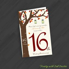 Table Number Anniversary Book Cards