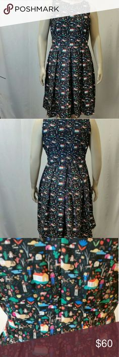 Rachel Antonoff Winnie Dress in Narrative Print Sleeveless  Fit and flare  Scoop neck  No stretch Invisible zio  lined   Polyester and Spandex   Size 16W  Length 44 Bust 23 Waist 20 Rachel Antonoff Dresses