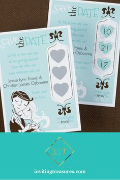 Scratch off wedding save the date idea | creative save the date ideas | teal save the date ideas | wedding illustration save the dates