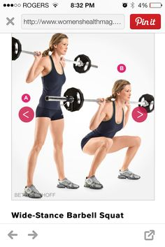 Wide stance barbell squat
