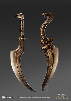 Assassin's Creed Origins: Curse of the Pharaoh 19 by satanasov Fantasy Blade, Fantasy Armor, Fantasy Weapons, Fantasy Sword, Swords And Daggers, Knives And Swords, Cool Knives, Ninja Weapons, Weapons Guns