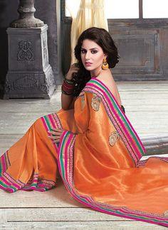 Orange Pure Jute Designer Saree  Item Code: 2597