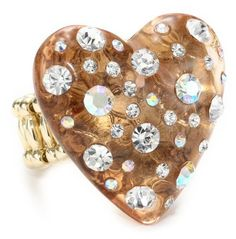 "Betsey Johnson ""Essentials"" Lucite Heart Stretch Ring"
