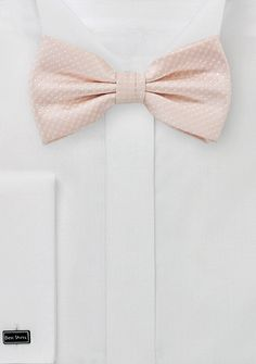 Elegant Blush Pink Bow Tie with Micro Dots