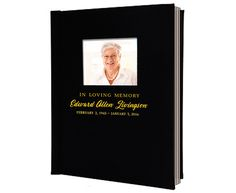 Quality leather bound memorial funeral guest book with photo window and gold personalized lettering up to 3 lines.