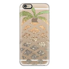 iPhone 6 Plus/6/5/5s/5c Case - PINEAPPLE GOLD iPHone 6 TRANSPARENT... ($40) ❤ liked on Polyvore featuring accessories, tech accessories, phone cases, phones, cases, iphone, iphone case, transparent iphone case, gold iphone case and slim iphone case