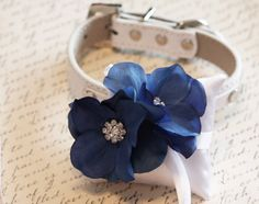 Blue Ring Pillow, White Pillow with blue flower and Rhinestone attach to the High quality Leather Collar, Ring Bearer Pillow Unique Dog Collars, Handmade Dog Collars, Beaded Dog Collar, Leather Collar, Dog Wedding Dress, Royal Blue Flowers, Ring Pillow, Blue Rings, Ring Bearer