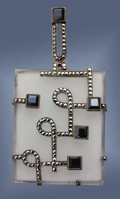 Art Deco Pendant / THEODOR FAHRNER / c.1931 / Silver, crystal, hematite & marcasite. @designerwallace