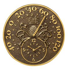 Pineapple Indoor/Outdoor Thermometer & Wall Clock French Bronze