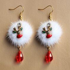 Moda europea y americana santa plum ciervo blanco bola de piel de zorro rojo de cristal pendientes de gota de la joyería al por mayor regalo de navidad