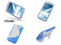 PDair Hybrid Plastic Case with Stand for Samsung Galaxy Note II GT-N7100 - S shape Series (Blue)
