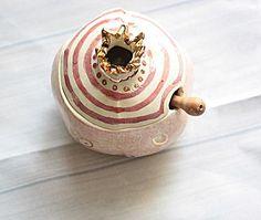 Ceramic pomegranate bowl Ceramic Honey Pot honey dipper