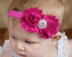 Magenta hot pink Shabby Headband Shabby chic Headband Baby headband rhinestone newborn headband flower headband baby girl headband