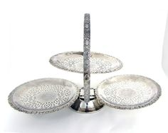 Mayell Queen Anne Silverplate Three Tier Folding by WhatnotGems Afternoon tea Top Tier = Scones Left tier = Savories and Tea sandwiches. Right tier = Sweets