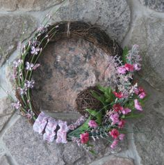 Wreath made with a strap from an outfit my daughter wore when she was a little girl- she's an adult now