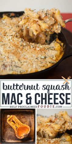 Butternut Squash Mac and Cheese combines all the wonderful fall flavors of roasted squash, sage, and onion with the comforts of pasta, cheese, and a crispy bread crumb topping. #macandcheese #butternut #roasted #squash #onion #baked #topping #recipe Macaroni Recipes, Yummy Pasta Recipes, Cheesy Recipes, Noodle Recipes, Dinner Recipes, Butternut Squash Mac And Cheese, Acorn Squash Recipes, Thanksgiving Recipes, Fall Recipes
