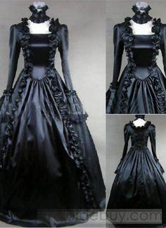Pure Black Pleated Edge Boat Neckline Neck Ornament Gothic Victorian Dress : Tidebuy.com