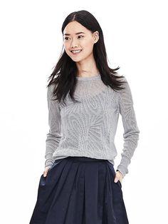 Cute thin sweater! Lace-Stitch Crew Pullover