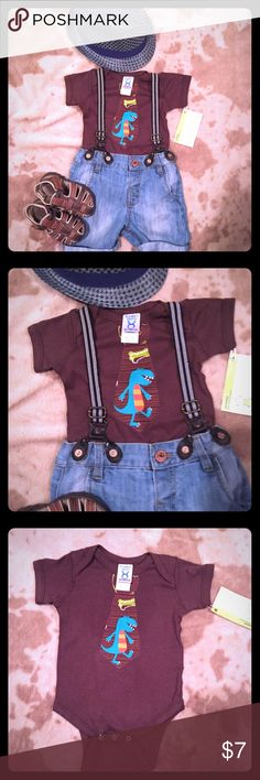 Adorable little boy Boutique onsie Brown boutique onsie with dinosaur tie appliqué, size 6 months, NWT Shirts & Tops