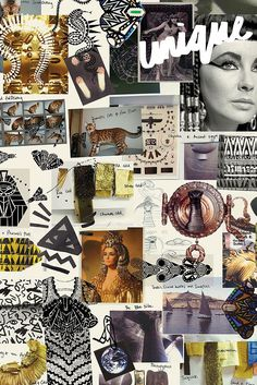 Behind the Collection: Topshop Unique Fashion Moodboard - Cleopatra theme with abstract patterns, tigers, pyramids, cobras and gold-tone acanthus leaves // Topshop Unique, mood board for fashion design Fashion Illustration Collage, Fashion Collage, Illustration Styles, Cleopatra, Cuadros Diy, Egyptian Fashion, Fashion Design Sketchbook, Sketch Fashion, Fashion Themes