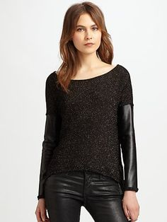 Generation Love Faux Leather-Trim Sweater