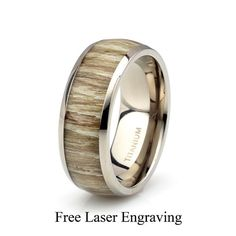 Titanium Wooden Ring Mens Women's Wedding Band Domed by carat323