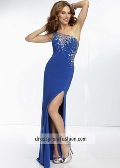 Royal Beaded One Shoulder High Slit Long Prom Dress