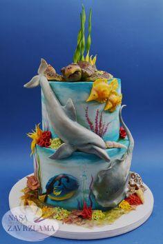Under The Sea Cake - cake by Nasa Mala Zavrzlama - CakesDecor Dolphin Birthday Cakes, Dolphin Cakes, Animal Birthday Cakes, Pretty Birthday Cakes, Ocean Cakes, Beach Cakes, Aquarium Cake, Rodjendanske Torte, Salted Caramel Chocolate Cake