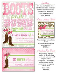 Boots and Bows Birthday Party Invites 20 printed by PARTYBOXDESIGN, $40.00