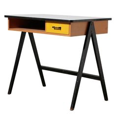 Coen de Vries for Devo The Hague 1954  Netherlands  1950's  Small Original Coen de Vries Writing Desk with Small Cubby and Little Yellow Drawer and Formica Top