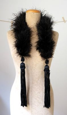 ca 1920s  Feather Boa - Ribbon tassles are what caught my eye.