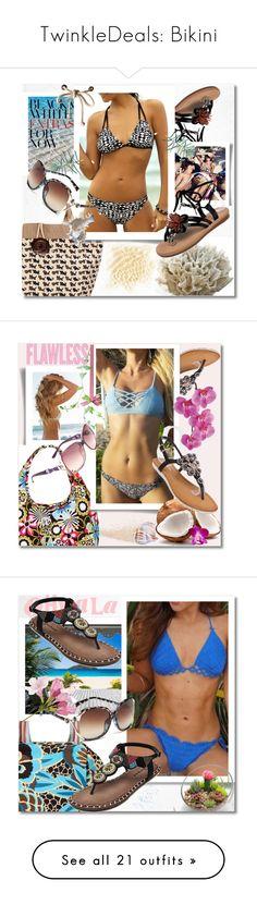 """TwinkleDeals: Bikini"" by andrea2andare ❤ liked on Polyvore featuring sandals, bikini, bag, sunglasses, slippers, Pier 1 Imports, floralprint, twinkledeals, transparentbag and GeometricalPrint"