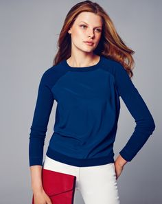Really like this, aside from the banded bottom.... *Pure Collection, Silk front  Sweatshirt