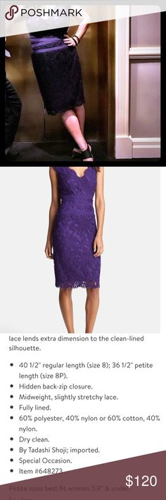 Tadashi Shoji Embroidered Lace Sheath Dress Pantone color of the year!  Size 14 dress in deep amethyst. Never been altered. Worn twice and dry cleaned after both uses.  Great condition. Tadashi Shoji Dresses