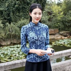 Blue Floral Lace Qipao Cheongsam Chinese Shirt - Chinese Shirts & Blouses - Women