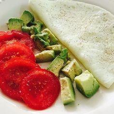Tomato, avocado, and egg whites. Healthy breakfast!
