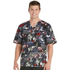 A comfortable fit makes the Tooniforms by Cherokee Men's V-Neck Avengers Print Scrub Top perfect for your busy day. Lots of pockets provide easy storage for every essential item.