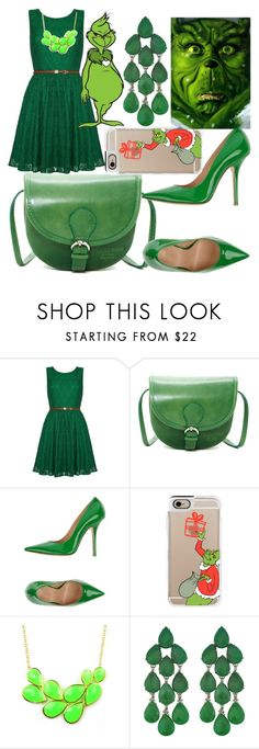 """""""You're a Mean One"""" by egordon2 ❤ liked on Polyvore featuring Yumi, Persaman New York, Fiorangelo, Casetify, Emi Jewellery, Siman Tu, Christmas, greenset, thegrinch and Christmas2015"""