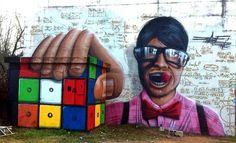 The Rubik Cube – 3D Street Art by Jeazer Oner.