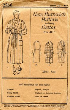 Unsung Sewing Patterns: Butterick 2266 - Men's Robe
