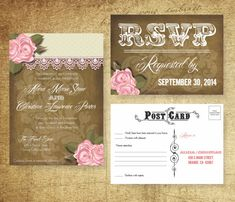Burlap & Lace Shabby Chic Wedding Invitation Suite: by AllisStudio