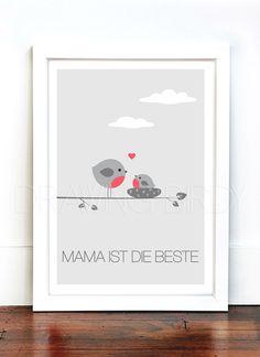 """""""Mama ist die beste"""" Originaldruck zum Muttertag von Drawing Birdy auf DaWanda.com"""